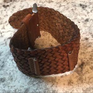 VINTAGE 1990'S 18MM FOSSIL BRAIDED LEATHER BAND